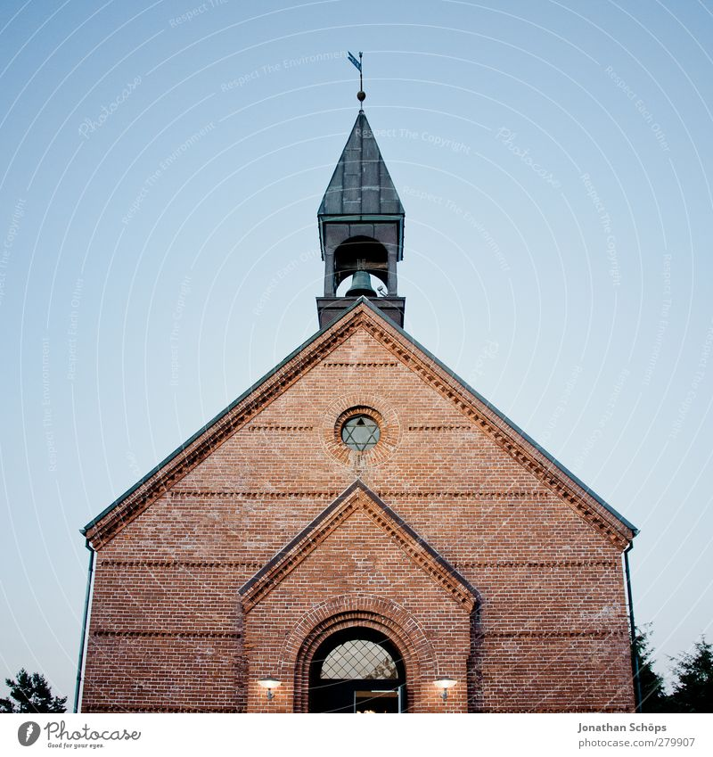 little church Village Small Town Goodness Humanity Truth Authentic Religion and faith Church Denmark Cloudless sky Dusk Brick Church spire Star of David