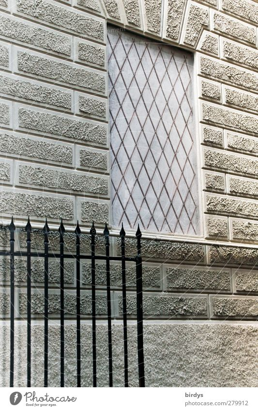 grayscale Building Facade Window Modern Town Gray Esthetic Style Mesh grid Grating Metalware Line Colour photo Exterior shot Pattern Structures and shapes Day