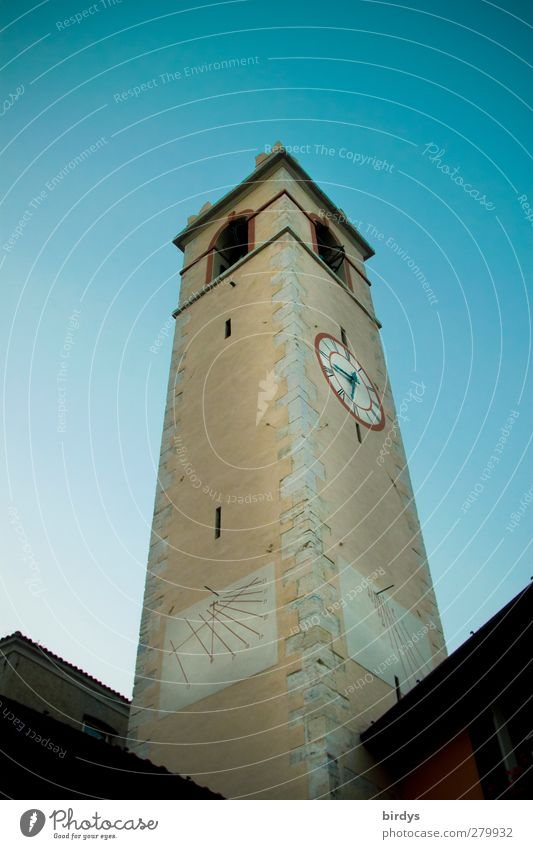 City Religion and faith Time Clock Perspective Tall Esthetic Church Clock face Italy Historic Cloudless sky Sharp-edged Height Vertical Church spire