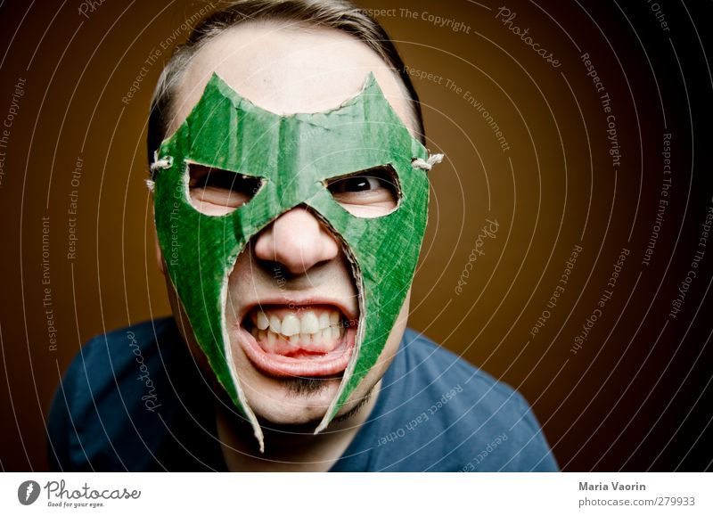 Wrestling Mans application photo Handicraft Masculine Adults 1 Human being 30 - 45 years Mask Brunette Short-haired Part Fight Aggression Threat Dark Trashy