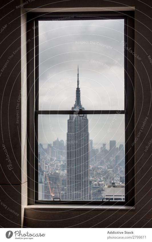 View from window on high tower in city City Tower Empire State building New York Amazing Vantage point Height High-rise Window Sky Clouds Rain Architecture USA