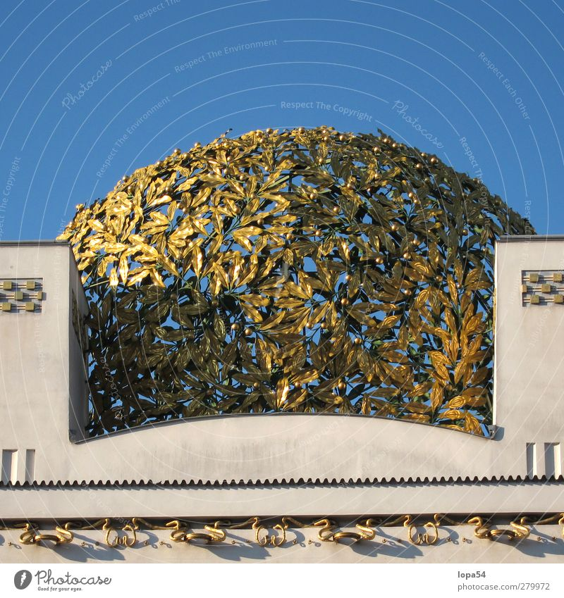golden leaves Art Museum Architecture Culture Sky Vienna Austria Capital city Downtown Manmade structures Facade Tourist Attraction Landmark Monument secession