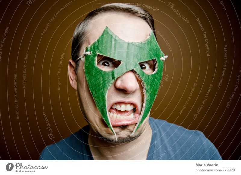 anger mode Handicraft Masculine Man Adults 1 Human being 30 - 45 years Mask Brunette Short-haired Part Fight Scream Aggression Threat Trashy Anger Aggravation