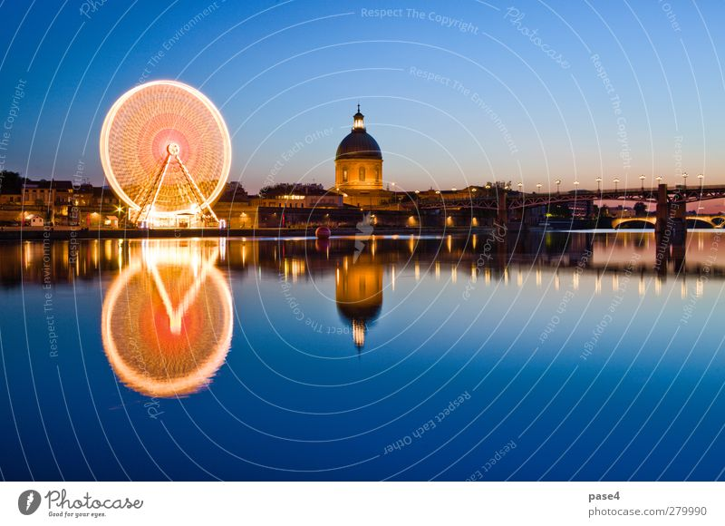 Ferris wheel in the evening, Toulouse Sightseeing Entertainment River Small Town Bridge Building Architecture Dark Bright Blue Gold Orange Ancient background