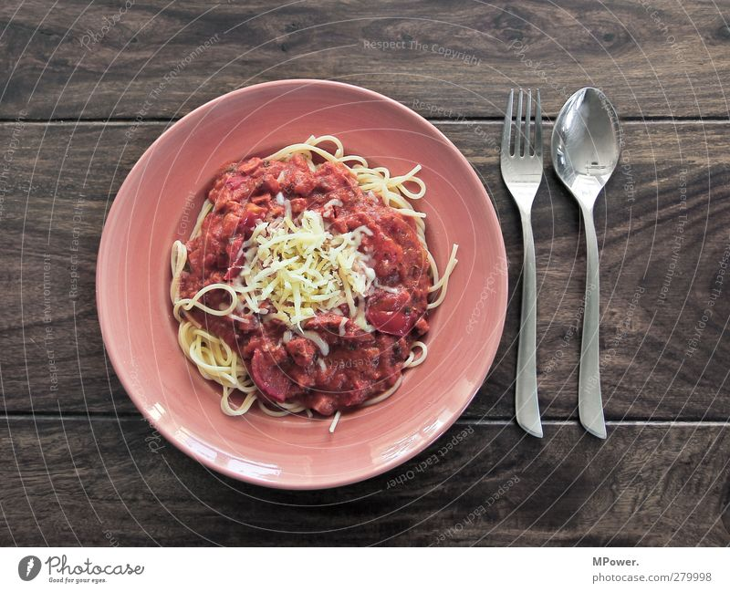 jummy jummy Food Nutrition Eating Lunch Italian Food Crockery Plate Fork Spoon Feeding Brown Yellow Red Silver Gluttony Voracious Noodles Dough Tomato sauce