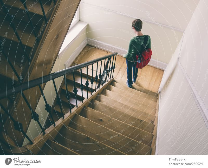 2,5 Stairs House (Residential Structure) Going Staircase (Hallway) Banister Landing Downward Ascending Bag Woman Geometry Town Hip & trendy Interior shot