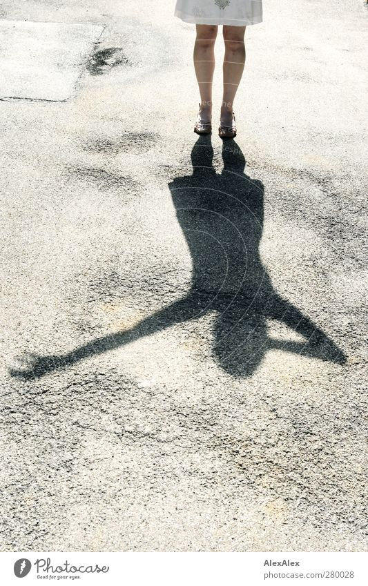 shadow plays Woman Adults Legs Feet 1 Human being 30 - 45 years Asphalt Glittering Playing Sports Stand Illuminate Free Positive Rebellious Thin Under Feminine