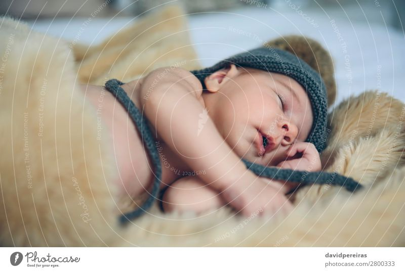 Baby girl with pompom hat sleeping Beautiful Calm Bedroom Child Human being Woman Adults Mouth Hat Love Sleep Dream Authentic Small Naked Cute Comfortable Ease