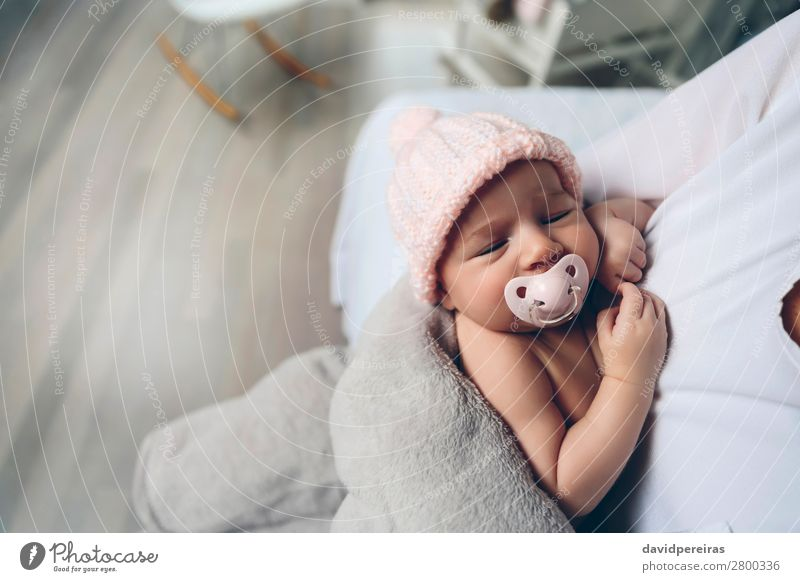 Baby girl with pacifier sleeping Woman Child Human being Beautiful Calm Face Lifestyle Adults Love Family & Relations Small Copy Space Pink Infancy Authentic