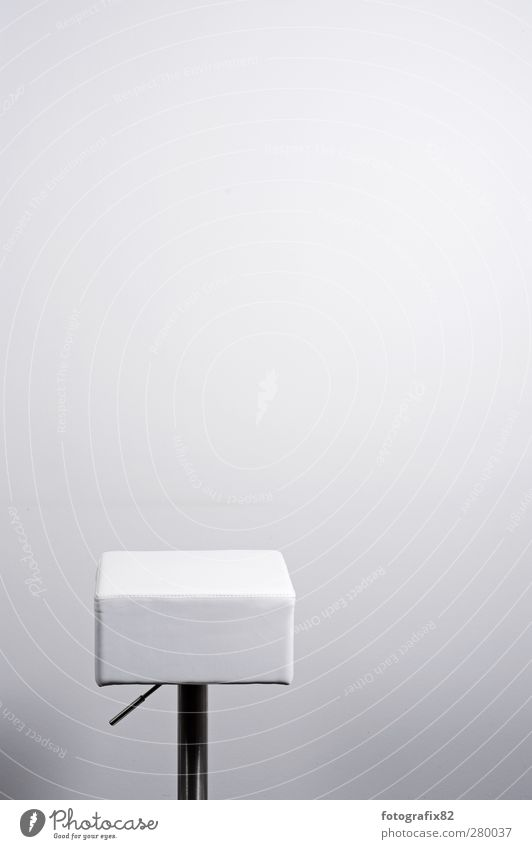 waiting wishing Leather Silver White Loneliness Chair Aluminium Office interior Wall (building) Stool Empty Colour photo Interior shot Deserted Copy Space right