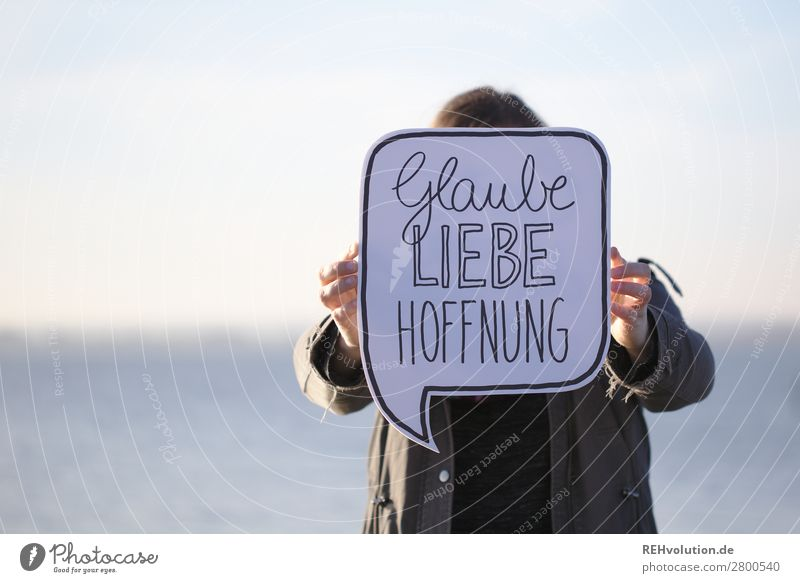 Speech bubble | Faith Love Hope Human being Feminine Woman Adults 1 Environment Nature Ocean Lake Signs and labeling Signage Warning sign To hold on Natural