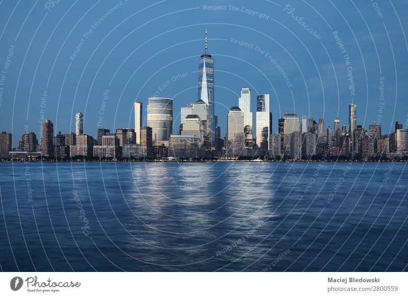 Manhattan at dusk, New York. Lifestyle Shopping Luxury Elegant Style Sky River bank Skyline High-rise Building Architecture Rich Success City NYC