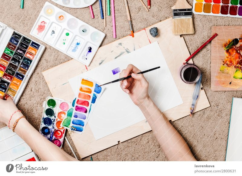 Flatlay with woman's hands holding stationary supplies Artist Board Cactus Carpet Caucasian Colour Multicoloured Craft (trade) Creativity Designer Draw Woman