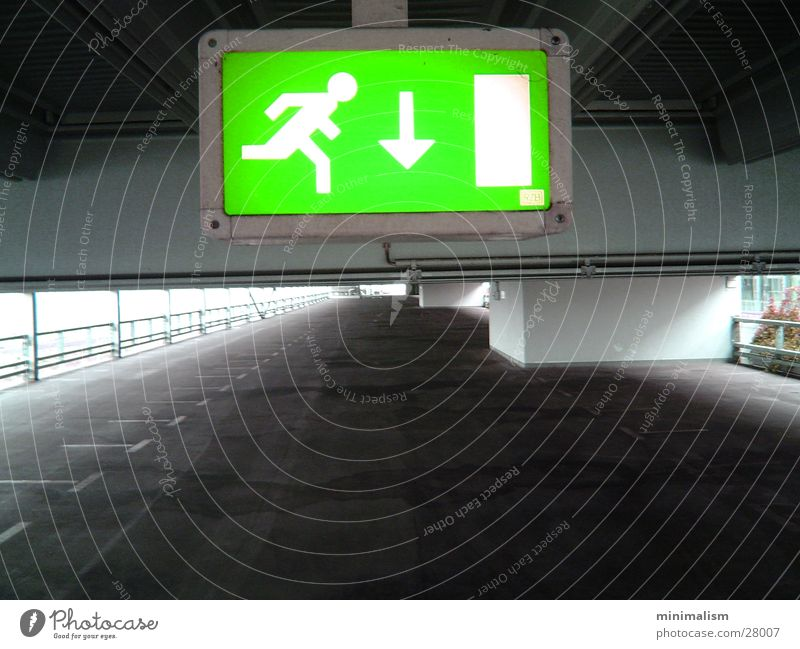 Green Lamp Signs and labeling Transport Empty Direction Signage Parking garage Way out