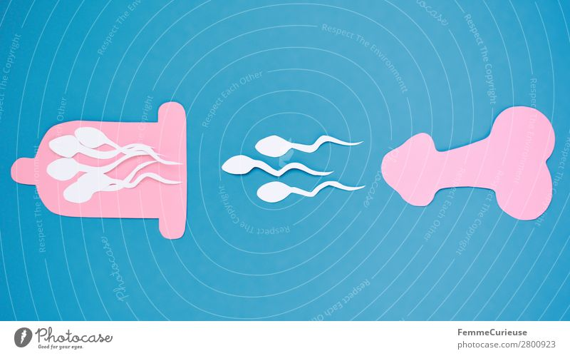 Symbol picture for contraception Sign Sex Sexuality Sperm Penis Condom Contraceptive Propagation Fertile Pink Light blue Illustration Symbols and metaphors