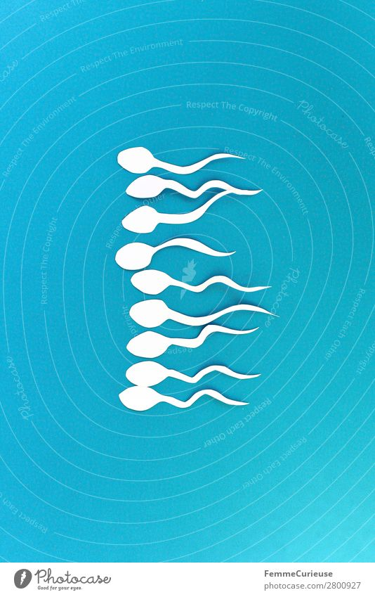 Symbol picture - a group of sperm Sign Sex Sexuality Sperm Blue White Symbols and metaphors Biology Illustration Graph Paper Low-cut Fertile Propagation