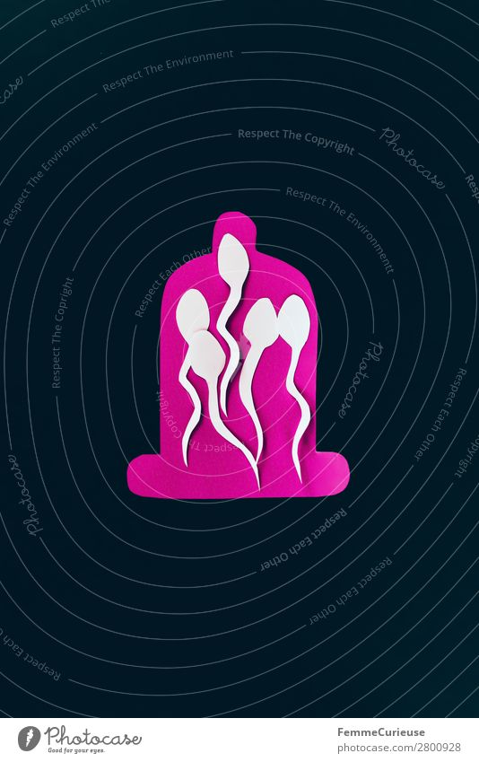 Contraception - sperm trapped in a condom Sign Sex Sexuality Sperm Condom Contraceptive Family planning Black Pink White Illustration Graph