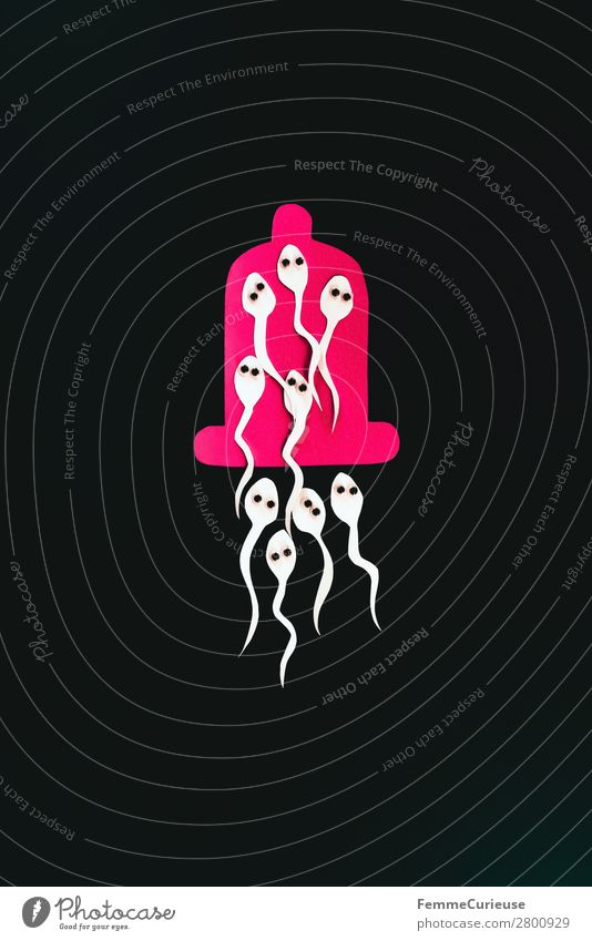 Symbol image for contraception - sperm in condom Sign Sex Sexuality Condom Sperm Contraceptive Black Pink Symbols and metaphors Illustration Eyes wobbly eyes
