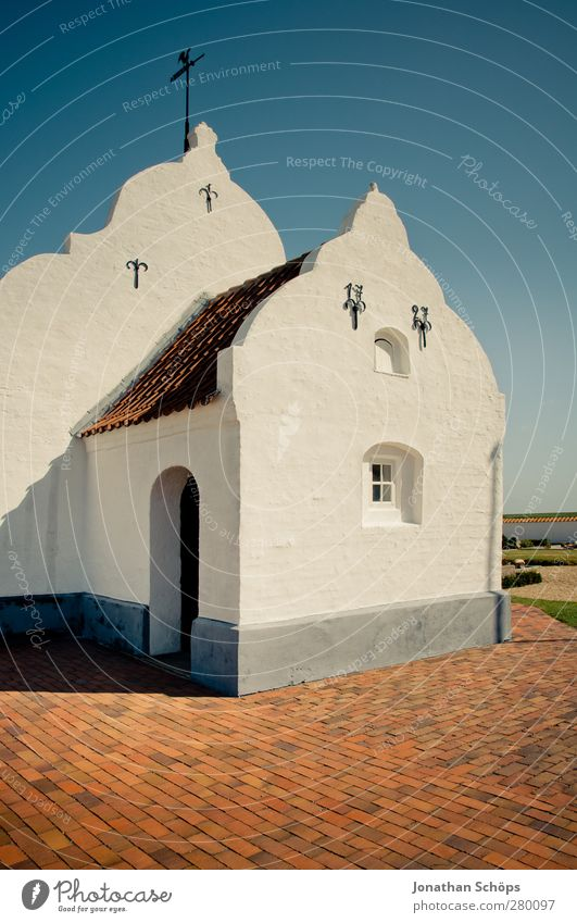 Blue White Red Warmth Architecture Religion and faith Building Bright Church Clean Simple Manmade structures Village Blue sky Denmark Minimalistic