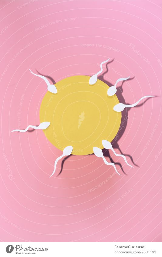 Reproduction - Sperm swimming to egg cell Sign Sex Sexuality Egg cell Pink Yellow White Symbols and metaphors Illustration Graph Paper Low-cut Family planning