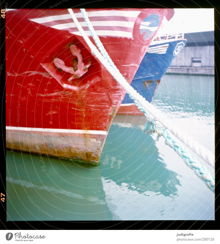 Hirtshals Water Port City Harbour Navigation Fishing boat Anchor Rope Blue Red Calm Colour photo Multicoloured Exterior shot