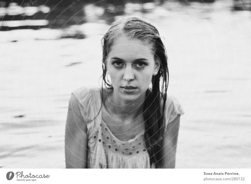 Out by the lake. Feminine Young woman Youth (Young adults) Head Hair and hairstyles Face 1 Human being 18 - 30 years Adults Environment Nature Lake Water Dress