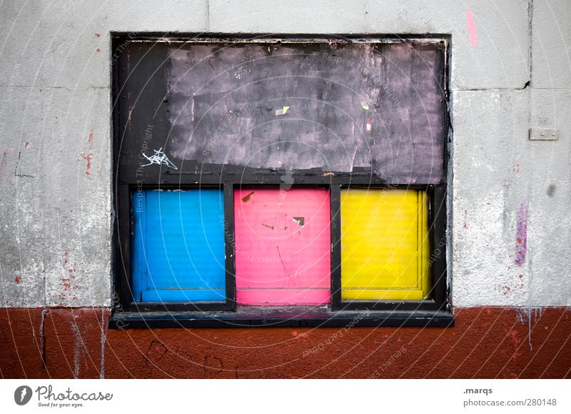 colour photograph Lifestyle Style Design Art Wall (barrier) Wall (building) Window Cool (slang) Dirty Uniqueness Blue Yellow Pink Black Colour Colour photo