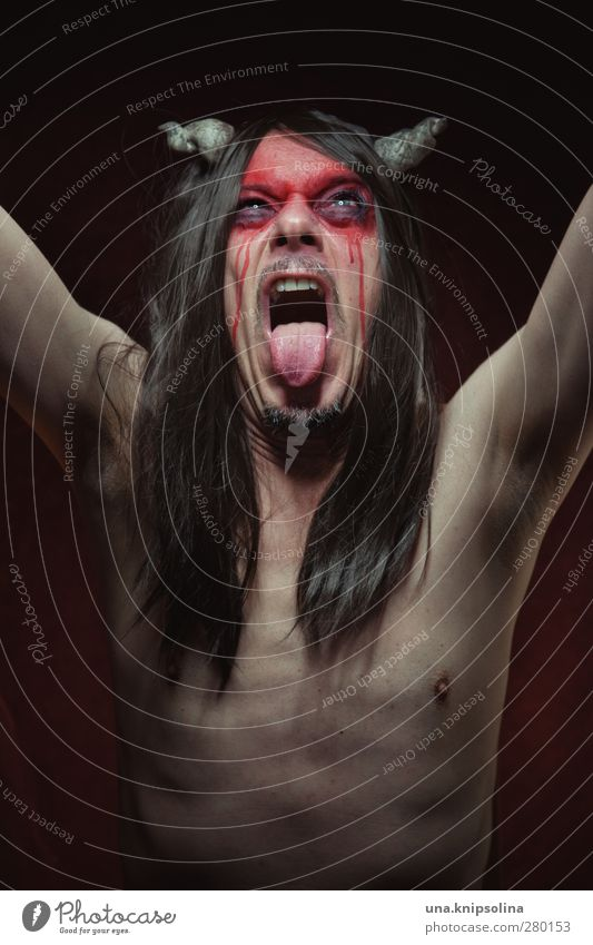 Human being Man Adults Dark Emotions Religion and faith Exceptional Masculine Crazy Threat Creepy Anger Force Scream Brunette Make-up