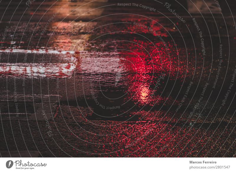 wet asphalt with red light reflection Elements Bad weather Rain Town Street Crossroads Traffic light Water Cold Wet Colour photo Exterior shot Deserted Night