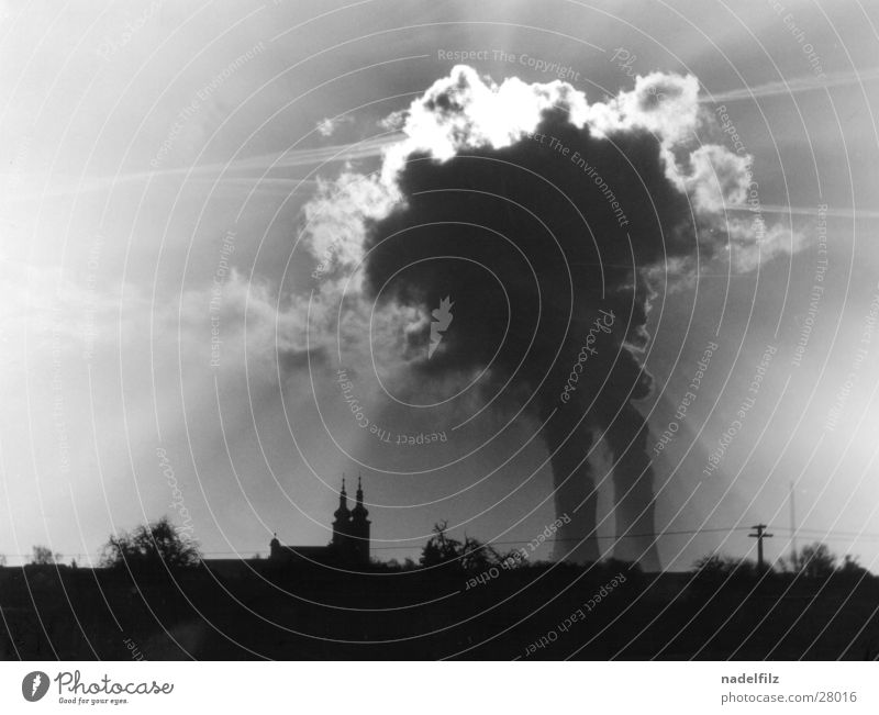 village Nuclear Power Plant Village Clouds Back-light Apocalyptic sentiment Dark Industry Religion and faith Silhouette