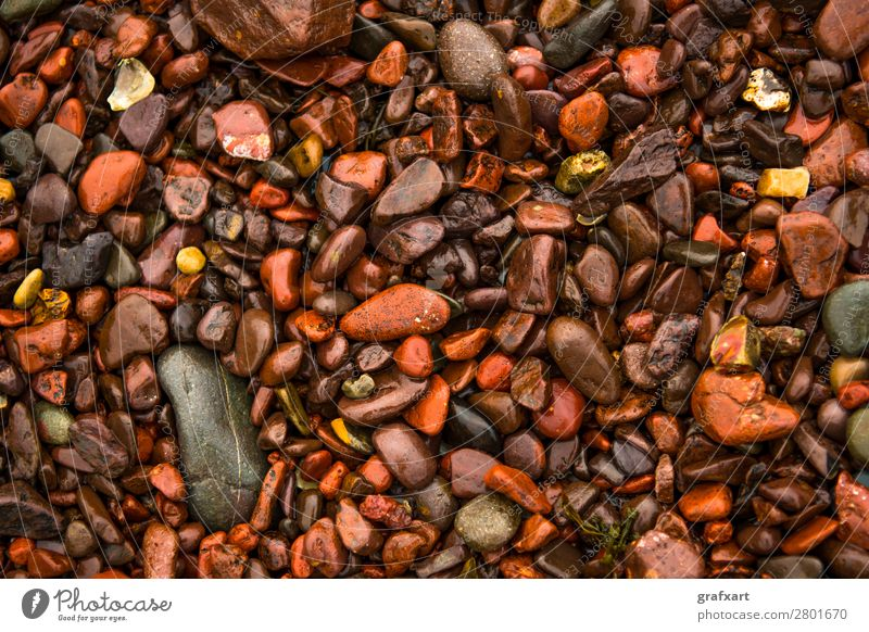 Wet red pebbles at the Atlantic coast in Scotland Brown Decoration Design Detail Versatile Erosion Colour Rock Geology Smoothness Hard Background picture Gravel