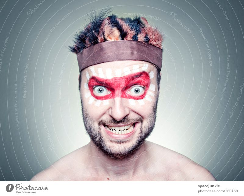 FREAK Human being Masculine Young man Youth (Young adults) 1 30 - 45 years Adults Exceptional Creepy Uniqueness Trashy Red Whimsical Humor Funny Metal coil