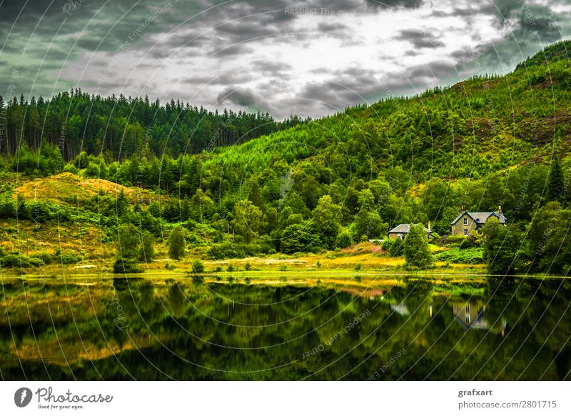 Nature Beautiful Water Landscape House (Residential Structure) Relaxation Clouds Loneliness Calm Forest Travel photography Mountain Environment Building Lake