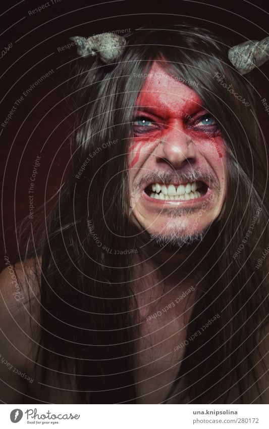 the number of the krempl Make-up Masculine Man Adults 1 Human being 30 - 45 years Brunette Long-haired Scream Aggression Threat Dark Creepy Crazy Red Emotions