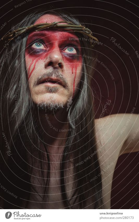 personal jesus Make-up Masculine Man Adults 1 Human being 30 - 45 years Brunette Long-haired Think Dream Sadness Authentic Dark Red Emotions Pain Fear