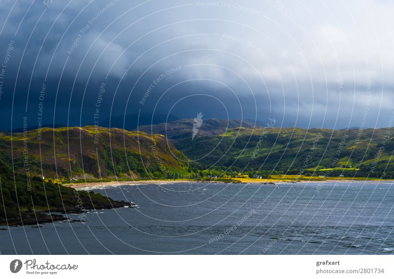 Scenic Sunlit Coast With White Beach On The Isle Of Skye In Scotland atlantic background beach beautiful building calm canal cliffs clouds cloudy coast coastal