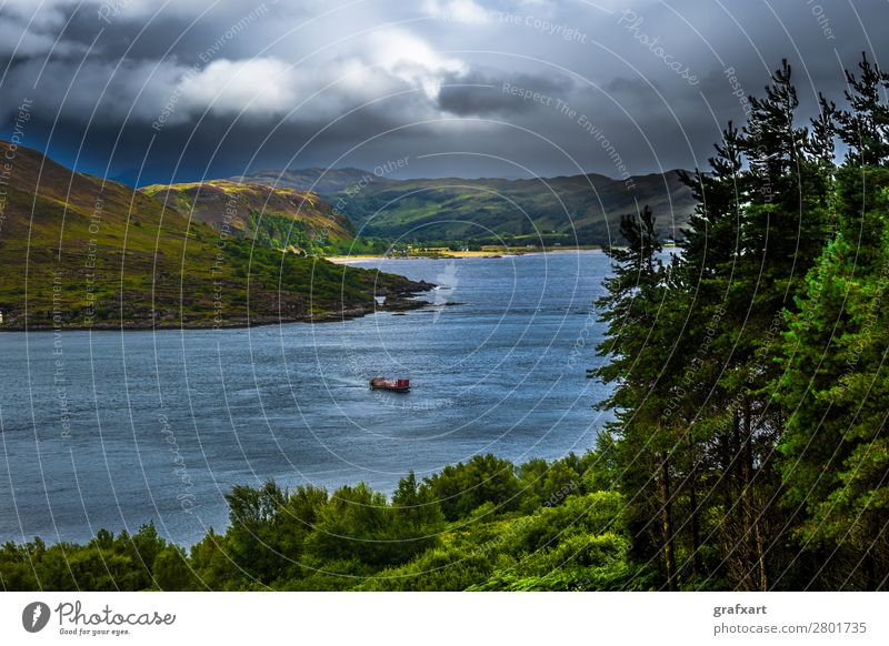 Scenic Sunlit Coast With Ferry Boat On The Isle Of Skye In Scotland atlantic background beach beautiful boat building canal cliffs clouds cloudy coast coastal