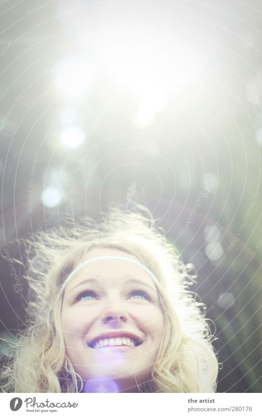 sun girl Human being Feminine Youth (Young adults) Head 1 Forest Hairband Blonde Long-haired Curl Smiling Illuminate Looking Free Friendliness Happiness Bright
