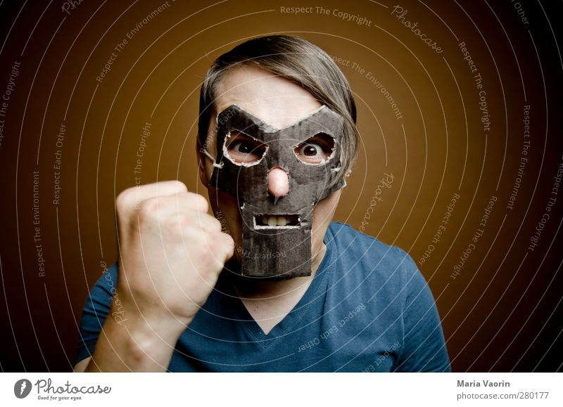 Human being Man Adults Dark Masculine Threat Mask Anger Brunette Fight Hero Aggression Aggravation Handicraft Fist Part