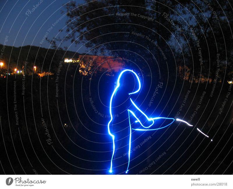 piss-manny Night Long exposure Light Blue Human being