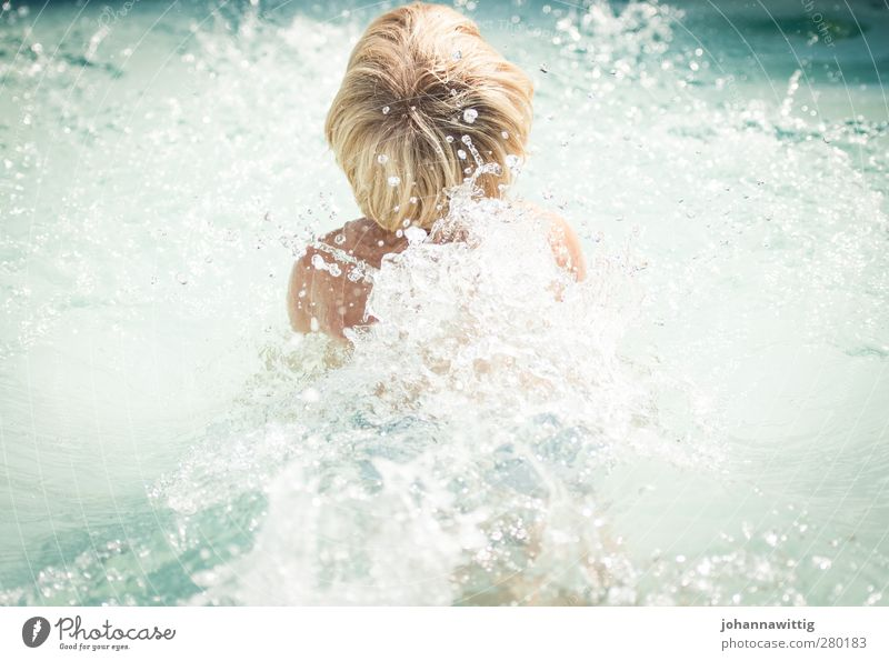Blue Water Summer Sun Joy Meadow Warmth Life Playing Small Garden Swimming & Bathing Drops of water Swimming pool Hot Toddler