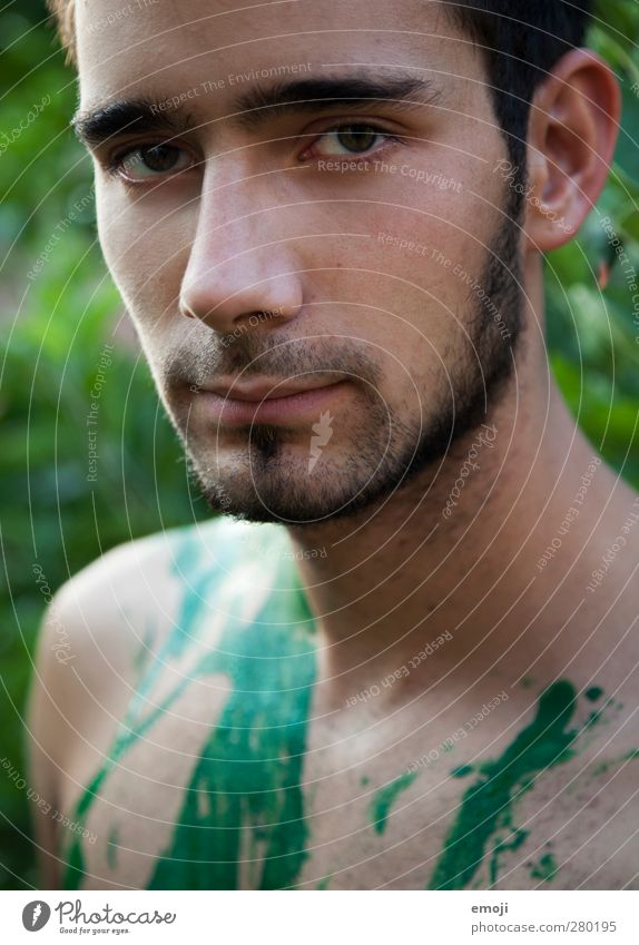 intense Masculine Young man Youth (Young adults) Face 1 Human being 18 - 30 years Adults Facial hair Designer stubble Natural Rebellious Green Earnest