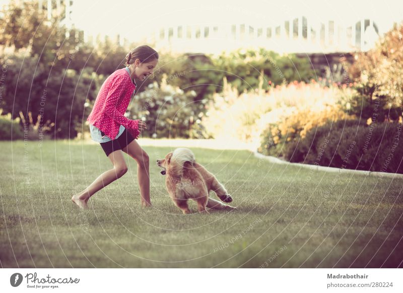 Dog Human being Child Beautiful Girl Joy Animal Feminine Playing Grass Movement Garden Funny Infancy Natural Walking