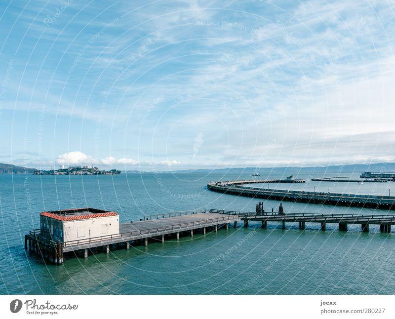 Sky Blue Water White Black Coast Gray Horizon Island Beautiful weather Hut Bay American Flag California San Francisco Alcatraz