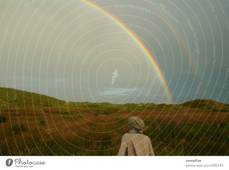Rainbow² Young woman Youth (Young adults) Environment Nature Drops of water Sky Storm clouds Sun Summer Meadow Hill Coast Lakeside Beach North Sea Baltic Sea
