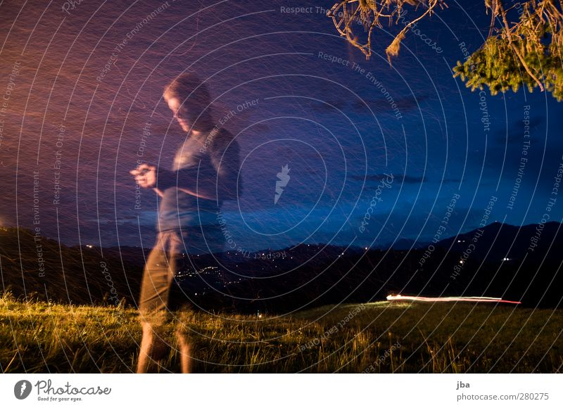 transparent Life Contentment Relaxation Freedom Summer Mountain Night life National Day 1st of August Masculine Young man Youth (Young adults) Human being