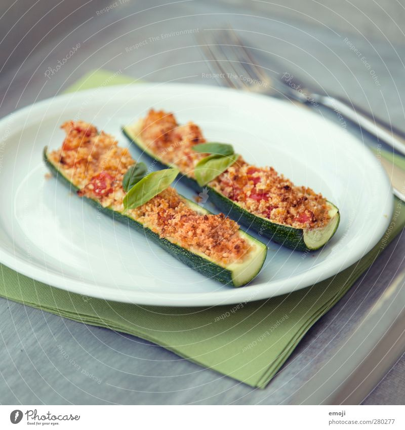 Zucchini with crispy hood Vegetable Nutrition Lunch Vegetarian diet Plate Cutlery Delicious Natural Crisp Colour photo Exterior shot Deserted Day