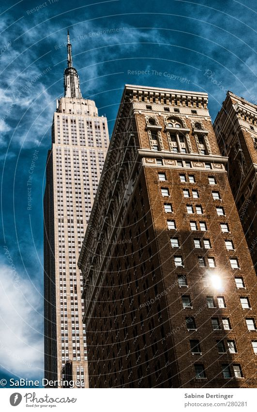 EMPIRE Tourism Sky Clouds Sun Sunlight Beautiful weather New York City USA Americas High-rise Manmade structures Building Architecture Facade Window