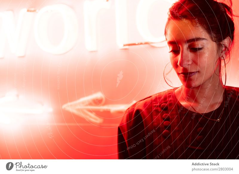Lady near red neon lights Woman Neon Light Hand Tel Aviv Israel Night Street Red Illumination Evening Fantasy ultraviolet Youth (Young adults) Lifestyle City
