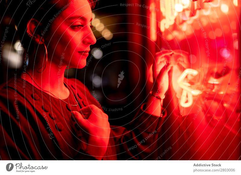 Lady near red neon lights Woman Neon Light Hand Tel Aviv Israel Night Street